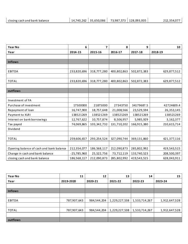 Project - loan proposal - CAPEX - 2009