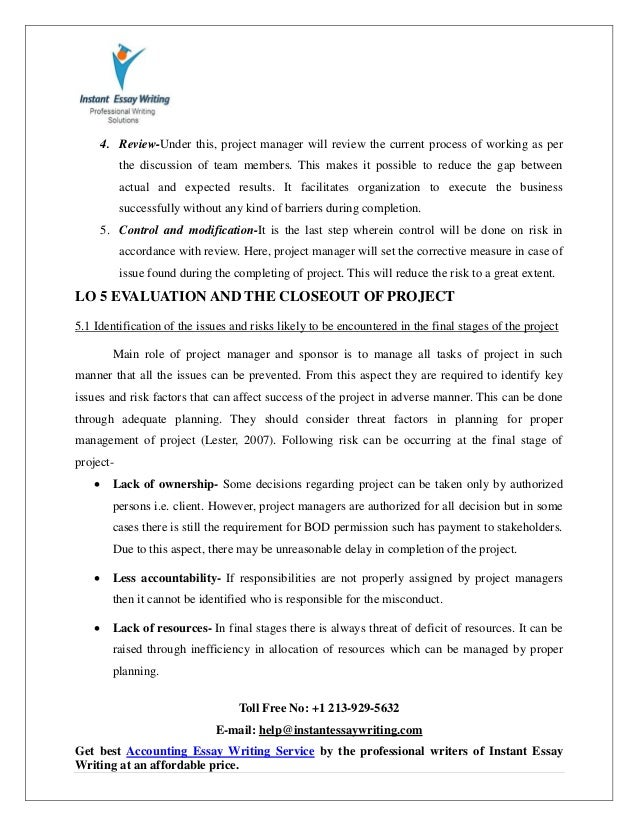 sample on project management by instant essay writing 31