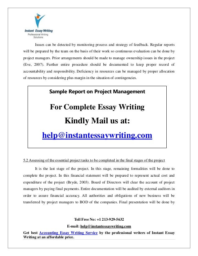 sample on project management by instant essay writing 32