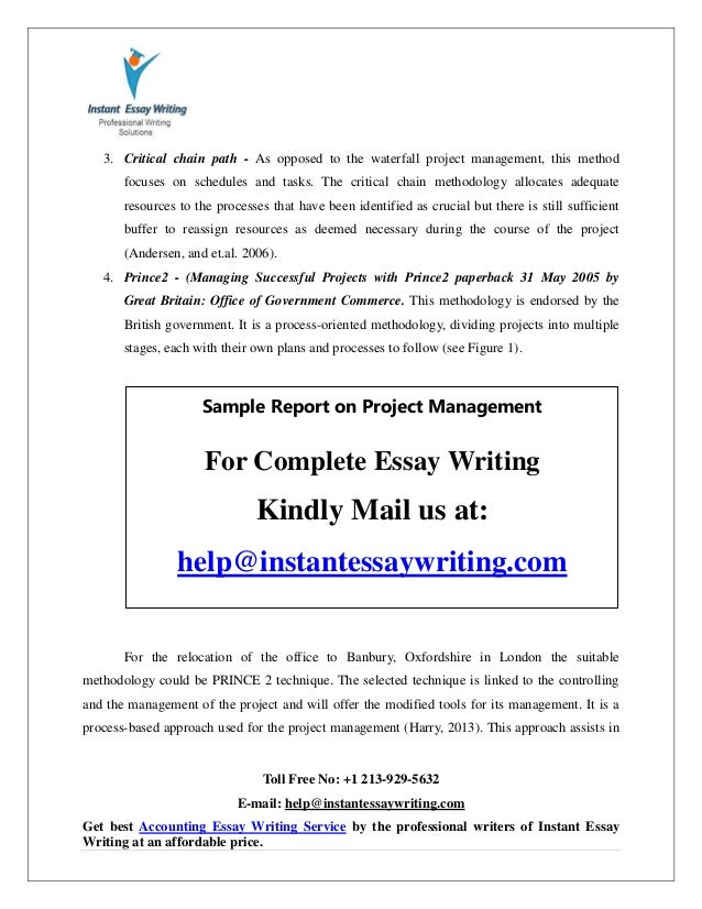 sample on project management by instant essay writing 9