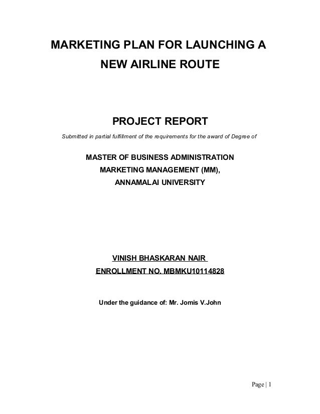 MARKETING PLAN FOR LAUNCHING A                NEW AIRLINE ROUTE                     PROJECT REPORT Submitted in partial fu...