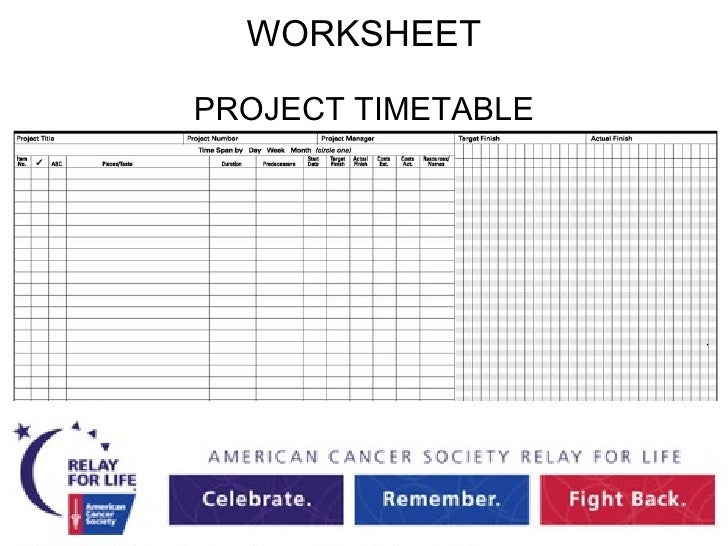 Project Management For Relay For Life