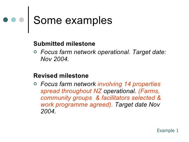 examples of project milestones