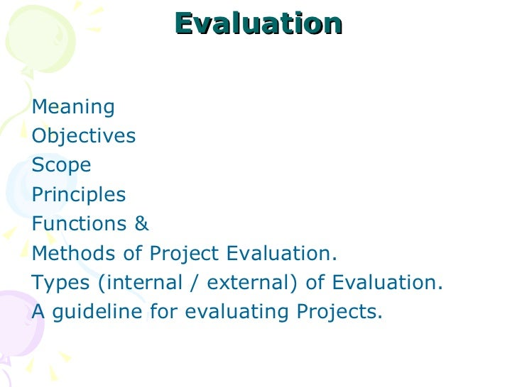 Project Monitoring  Evaluation