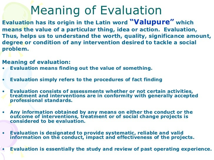 Definition Evaluation What Are The Meaning Of These Terms Like