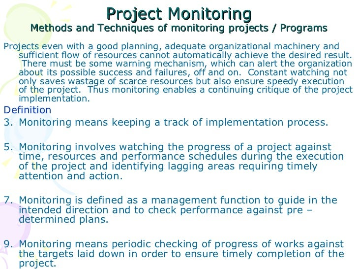 Project monitoring evaluation for Project monitoring plan template