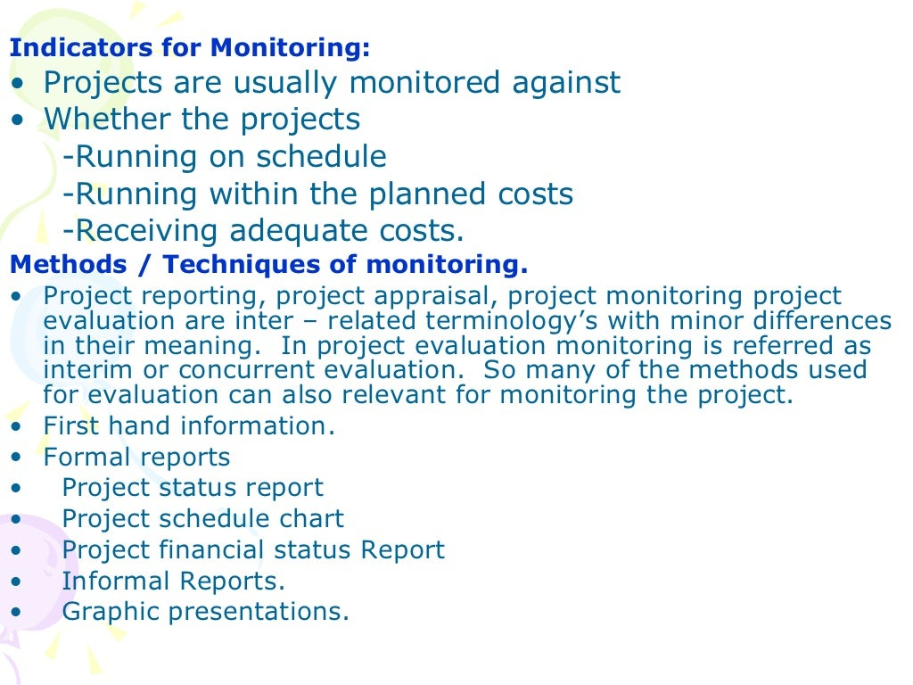 Project Monitoring Amp Evaluation
