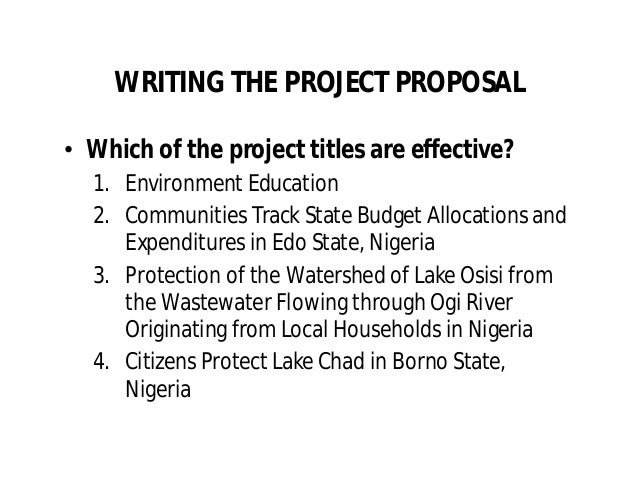 Project Proposal Writing By Oji Ogbureke