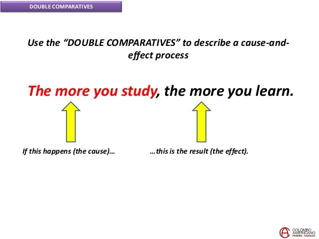 """DOUBLE COMPARATIVES Use the """"DOUBLE COMPARATIVES"""" to describe a cause-and- effect process If this happens (the cause)… …th..."""