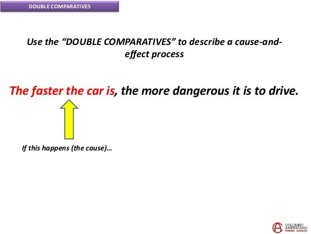 """DOUBLE COMPARATIVES Use the """"DOUBLE COMPARATIVES"""" to describe a cause-and- effect process The faster the car is, the more ..."""