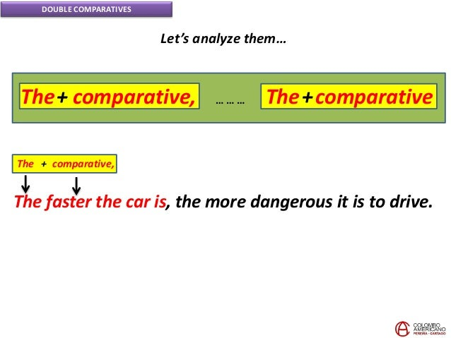 DOUBLE COMPARATIVES Let's analyze them… The faster the car is, the more dangerous it is to drive. The + comparative, The+ ...