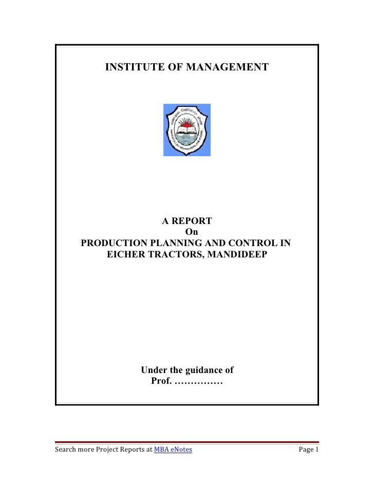 project report on production planning and control pdf