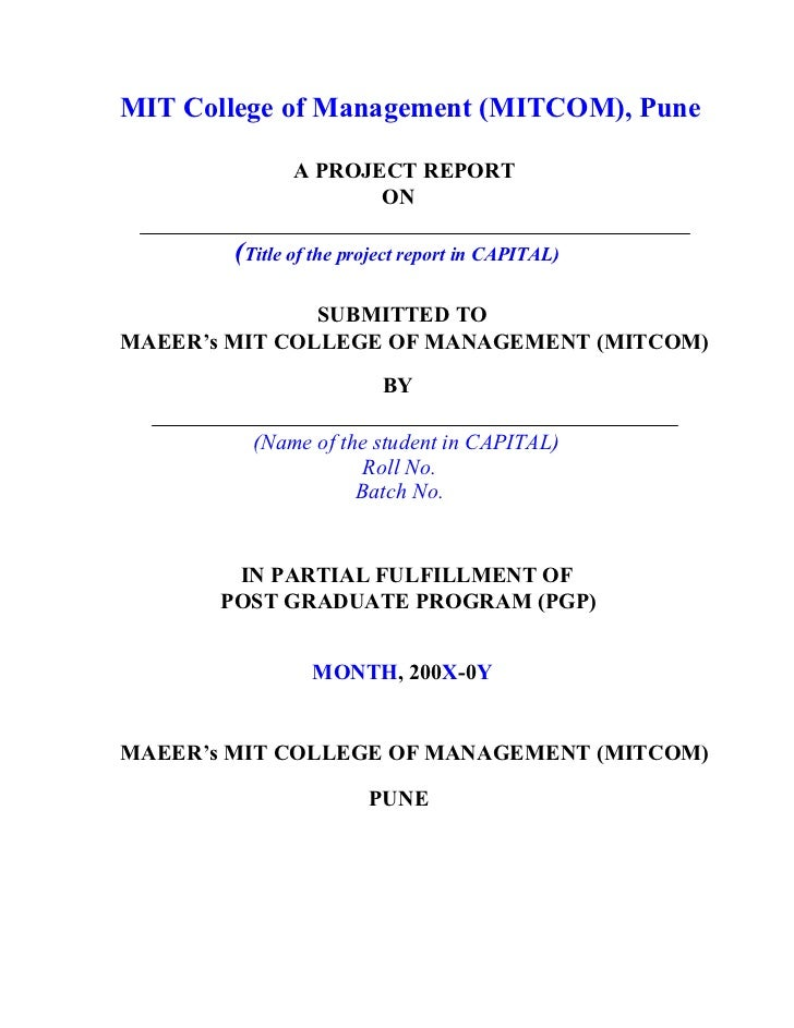 Project Report-Format By Vishal