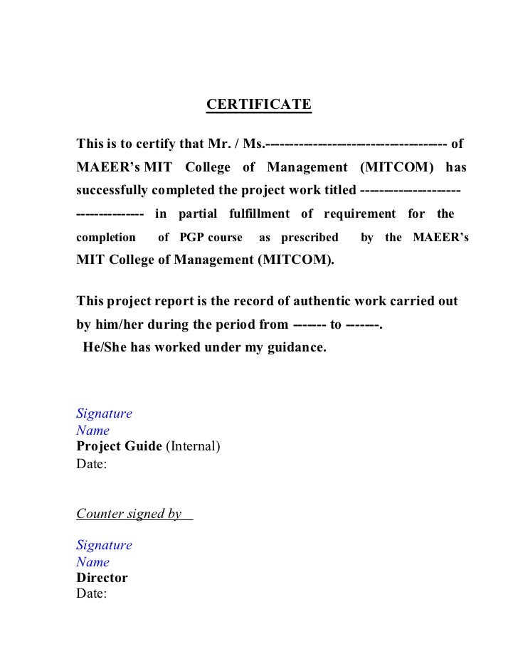project completion certificate for college students pacqco – Work Completion Certificate Format