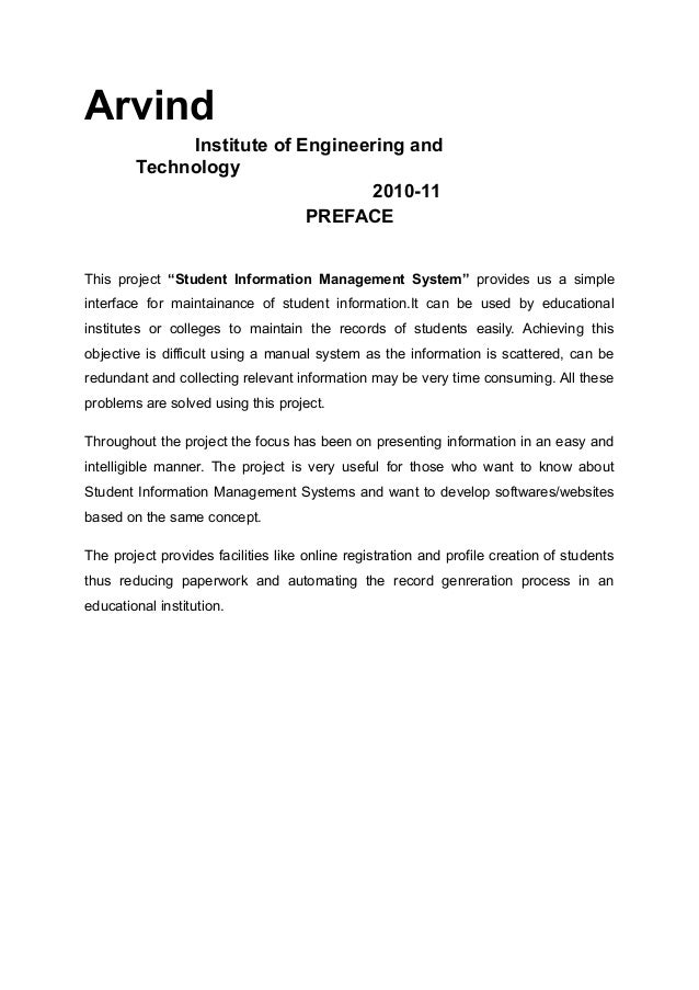 project report on student information m (gju) adopted the project management and software development  keywords:  student information system registration web-based applications software  engineering iso/iec  plan based on a monthly progress report and feedback  from.