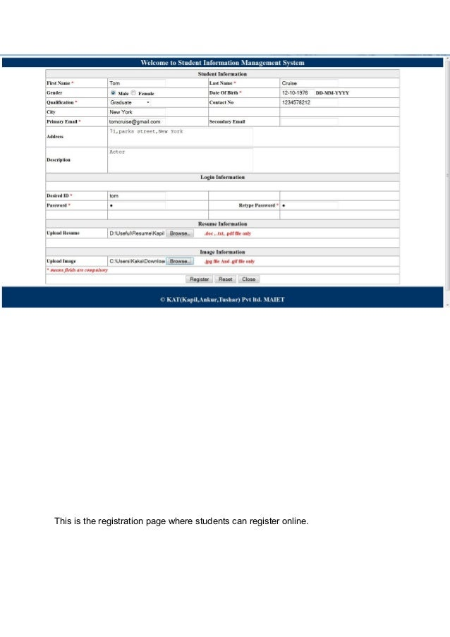 student information system project report pdf