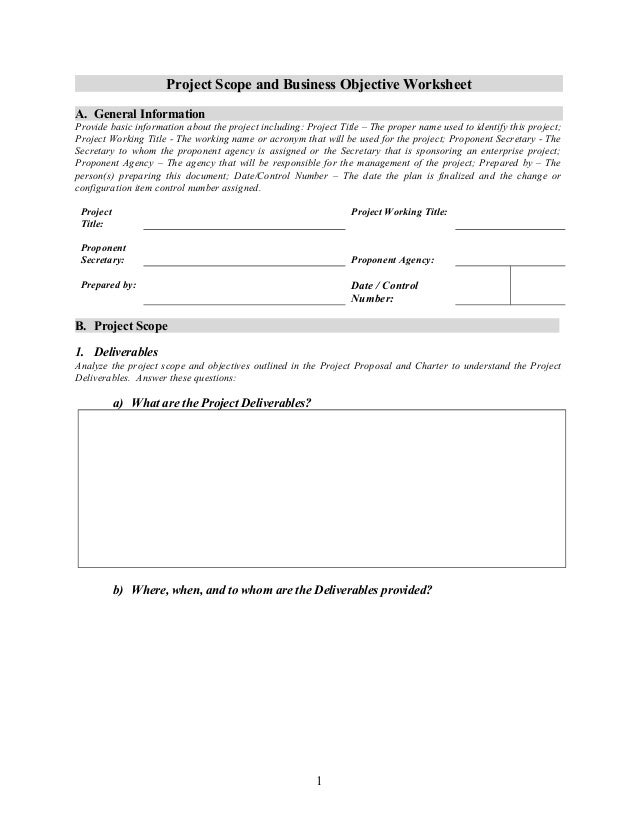 project scope and business objective worksheet 1 2