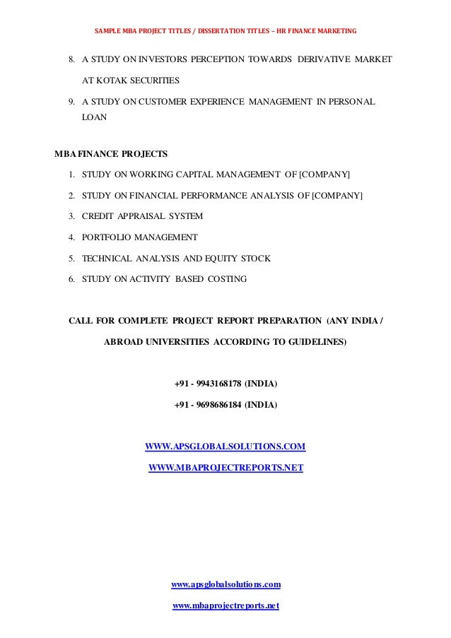 mba marketing dissertation projects download