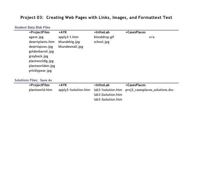 Project 03: Creating Web Pages with Links, Images, and Formattext Text  Student Data Disk Files          +ProjectFiles    ...