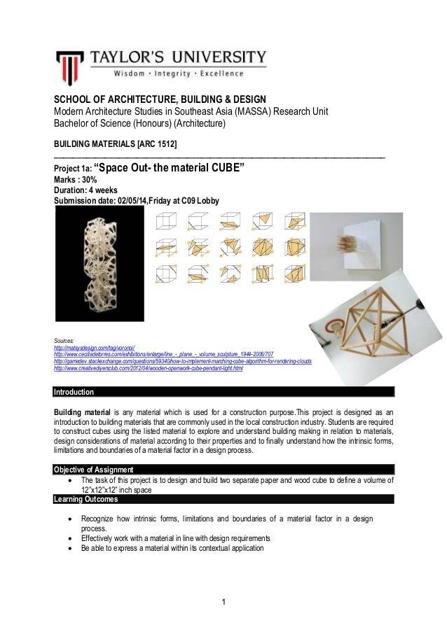 1 SCHOOL OF ARCHITECTURE, BUILDING & DESIGN Modern Architecture Studies in Southeast Asia (MASSA) Research Unit Bachelor o...