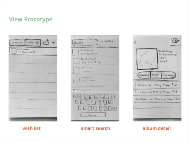 View Prototype  wish list  smart search  album detail