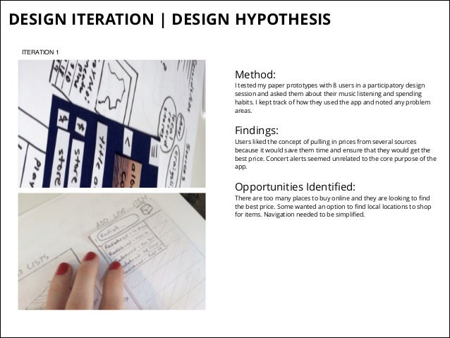DESIGN ITERATION   DESIGN HYPOTHESIS ITERATION 1  Method:  I tested my paper prototypes with 8 users in a participatory de...