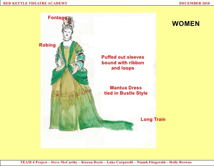 Fontage WOMEN Mantua Dress tied in Bustle Style Robing Long Train Puffed out sleeves bound with ribbon and loops