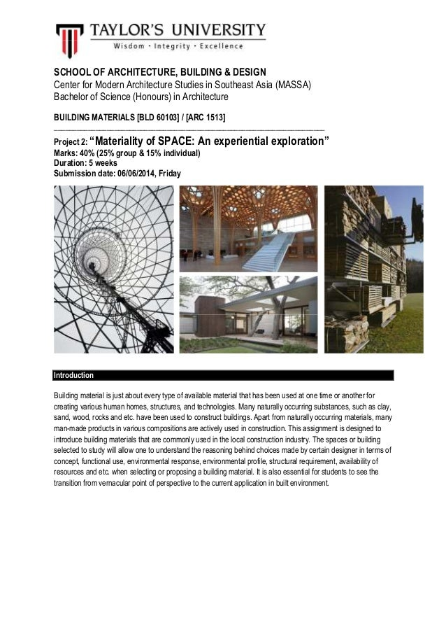 SCHOOL OF ARCHITECTURE, BUILDING & DESIGN Center for Modern Architecture Studies in Southeast Asia (MASSA) Bachelor of Sci...