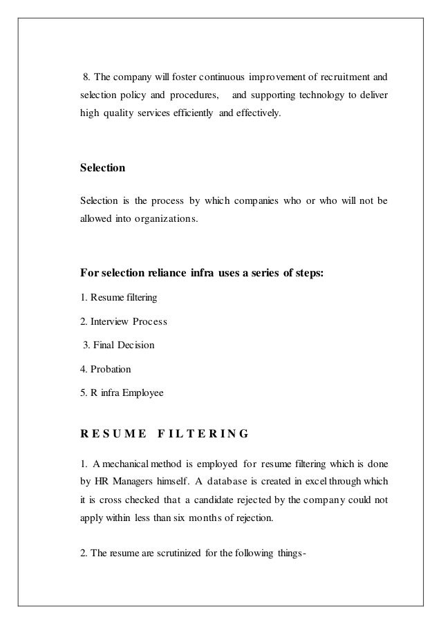 recruitment and selection policy of reliance