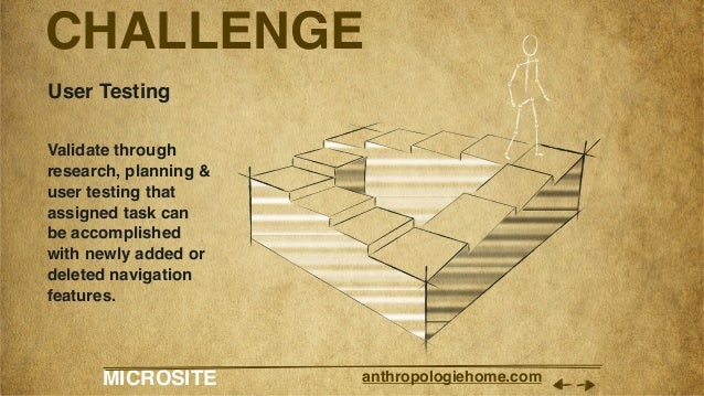 MICROSITE anthropologiehome.com CHALLENGE User Testing Validate through research, planning & user testing that assigned ta...