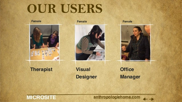 MICROSITE anthropologiehome.com OUR USERS Therapist Visual Designer Office Manager Female Female Female