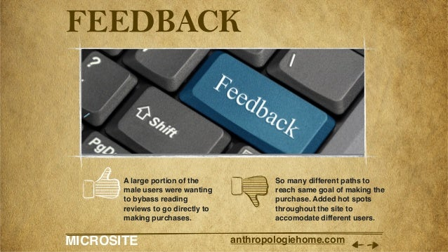 MICROSITE anthropologiehome.com FEEDBACK A large portion of the male users were wanting to bybass reading reviews to go di...
