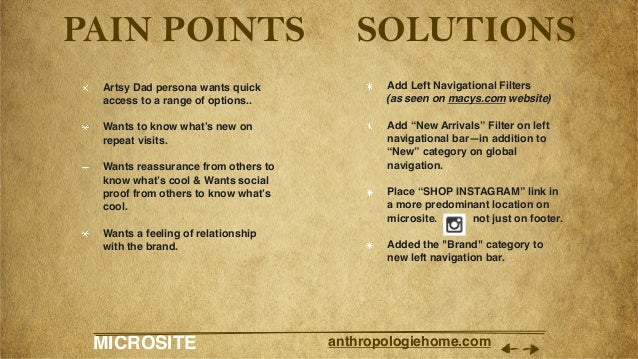 MICROSITE anthropologiehome.com PAIN POINTS Artsy Dad persona wants quick access to a range of options.. Wants to know wh...