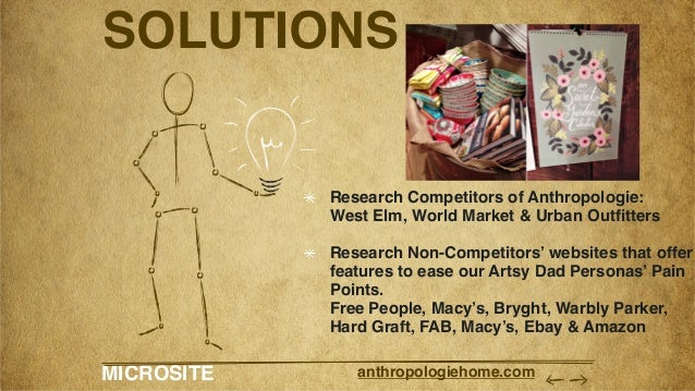 MICROSITE anthropologiehome.com SOLUTIONS Research Competitors of Anthropologie: West Elm, World Market & Urban Outfitters...