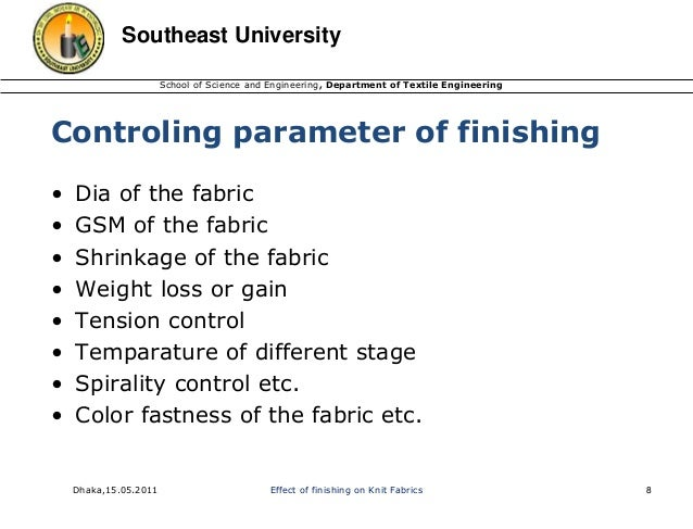 Knit Fabric Finishing Process : Effect of finishing on knit fabrics