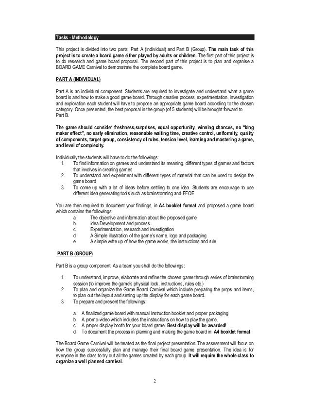 Project Board Game Project Brief - Board game design document