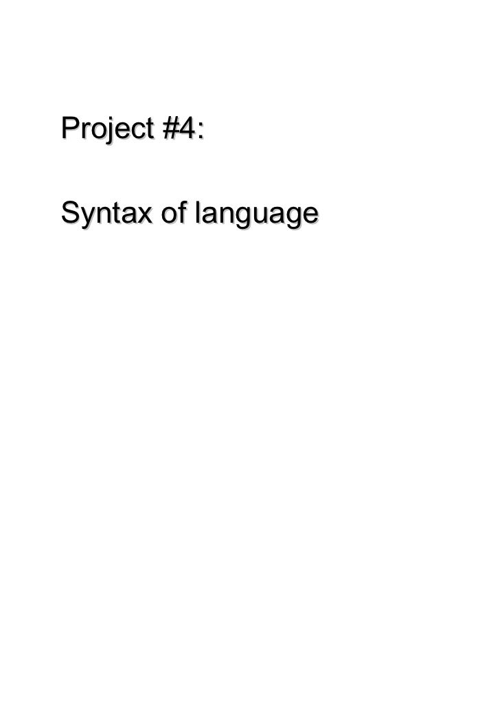 Project #4:Syntax of language