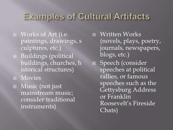 artifact speech sample Student sample – rhetorical analyses of pop culture artifacts (by  note: whitney originally posted these artifact analyses on the fall 2013 class blog for.