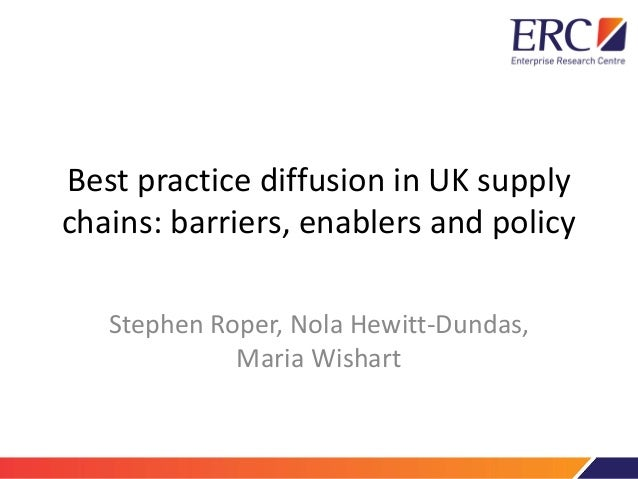 Best practice diffusion in UK supply chains: barriers, enablers and policy Stephen Roper, Nola Hewitt-Dundas, Maria Wishart