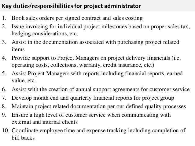 Project Administrator Job Description