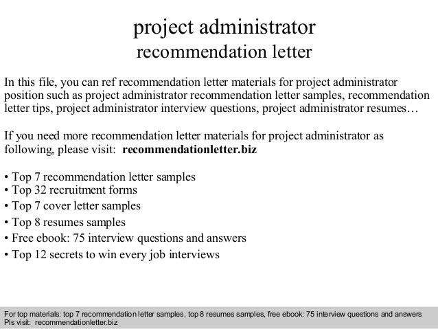 Project administrator recommendation letter on administrative cover letter sample, administrative resume sample, administrative leave letter sample,