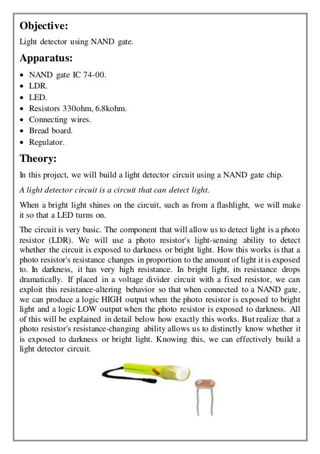LIGHT DETECTOR USING NAND GATE