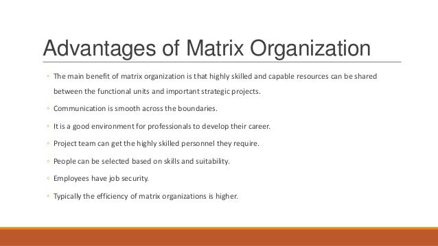 benefits of matrix organizational structure