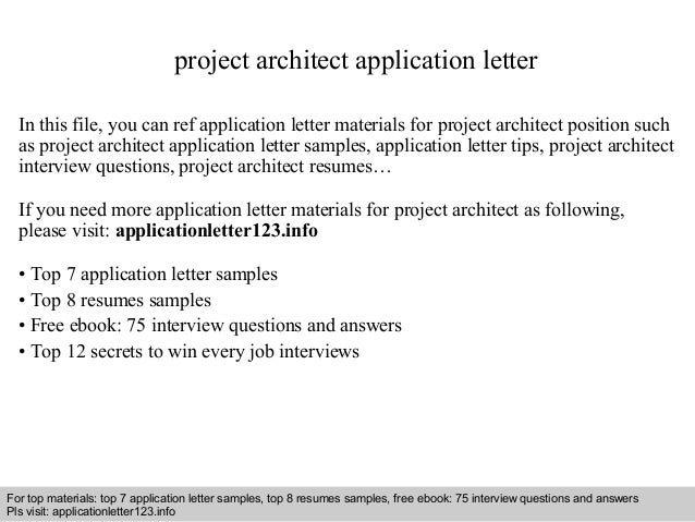 Project Architect Application Letter