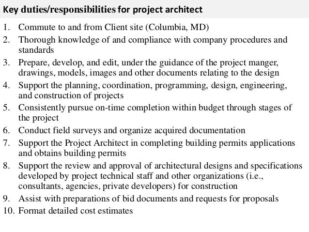Amazing ... 2. Key Duties/responsibilities For Project Architect ...