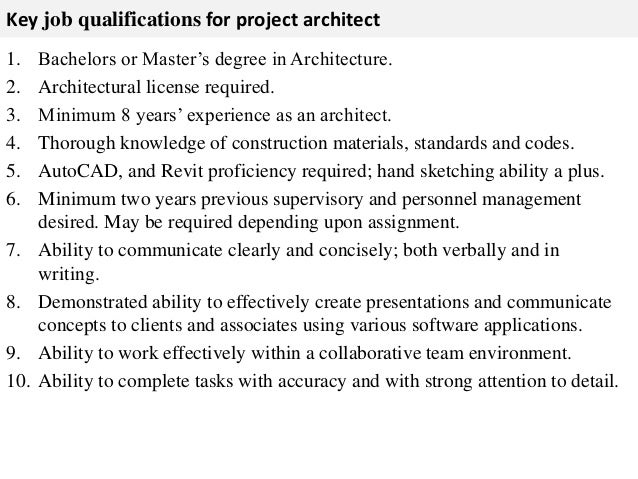 Exceptional Format Detailed Cost Estimates; 3. Key Job Qualifications For Project  Architect ...