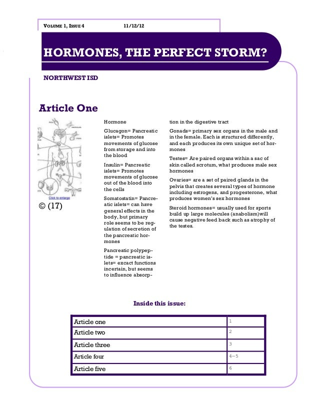 VOLUME 1, ISSUE 4                  11/12/12 HORMONES, THE PERFECT STORM? NORTHWEST ISDArticle One                         ...