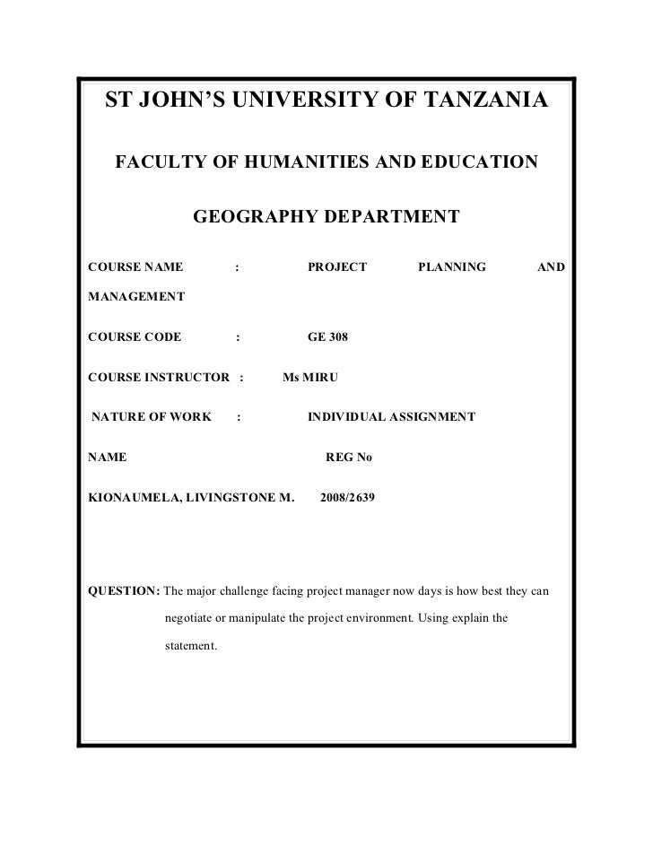 ST JOHN'S UNIVERSITY OF TANZANIA    FACULTY OF HUMANITIES AND EDUCATION                  GEOGRAPHY DEPARTMENTCOURSE NAME  ...