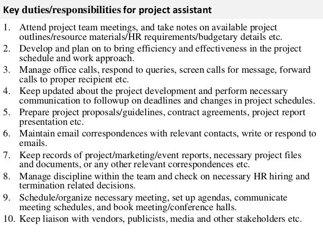 ... 2. Key Duties/responsibilities For Project Assistant ...