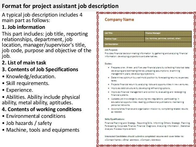 project assistant job description construction project manager
